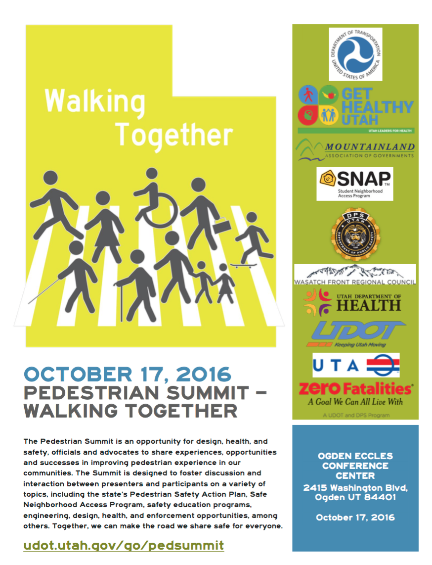 Register for Utah's pedestrian safety summit - October 17th