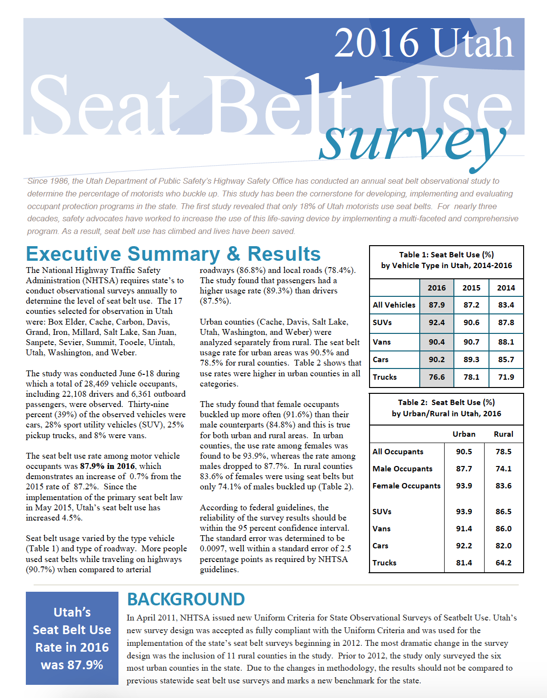 Screen cap of first page of 2016 Utah seat belt observational survey