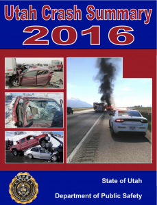 Screen shot of cover of Utah Crash Summary 2016 shows four crashes that happened during the year.