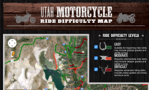 Screen cap of routes page of ridetoliveutah.org