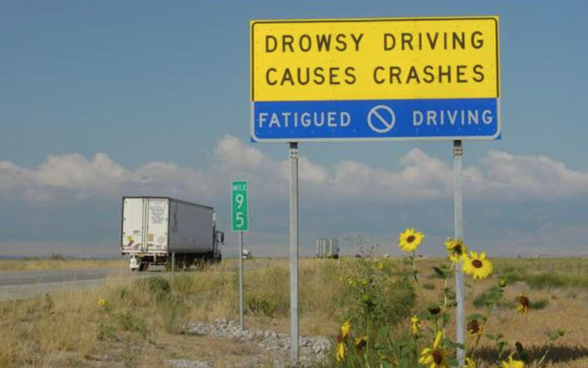 Drowsy driving prevention freeway sign