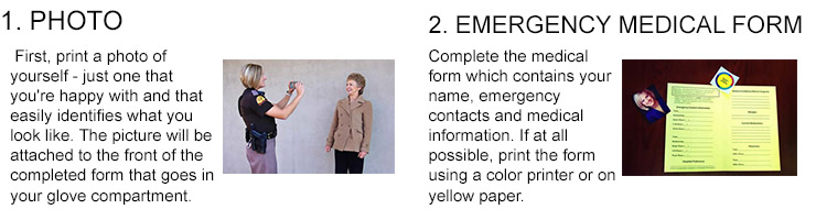 2 of 4 steps for Yellow Dot - 1 print a photo, 2 fill out medical form