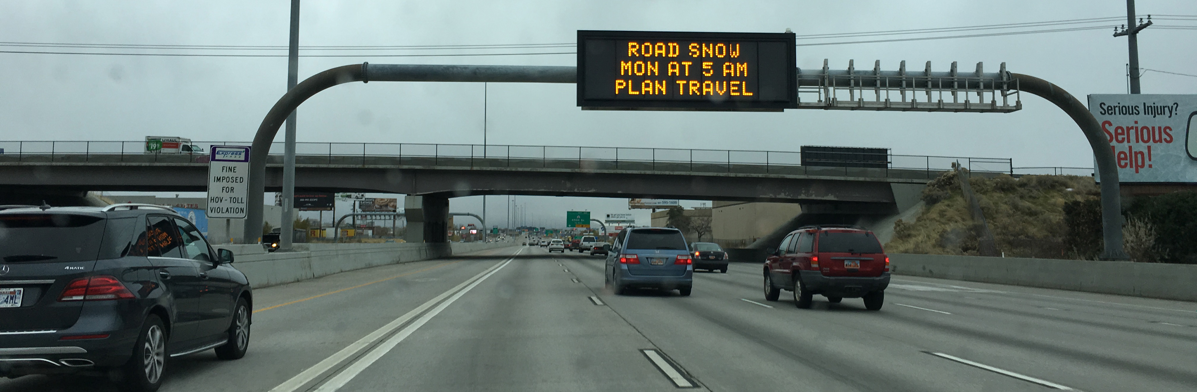 """UDOT VMS sign showing """"Road snow Mon at 5 am plan travel"""""""